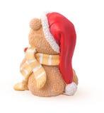 Τα Χριστούγεννα αντέχουν πίσω σε ένα καπέλο Άγιου Βασίλη και ένα γ στοκ φωτογραφία με δικαίωμα ελεύθερης χρήσης