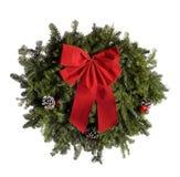 τα Χριστούγεννα απομόνωσαν το άσπρο στεφάνι Στοκ φωτογραφία με δικαίωμα ελεύθερης χρήσης