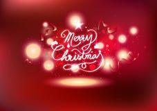 Τα Χριστούγεννα γιορτάζουν, καλλιγραφία κορδελλών και μαγικά αστέρια πυροβολισμού, κόκκινα ελαφριά καμμένος πυροτεχνήματα θέματος απεικόνιση αποθεμάτων