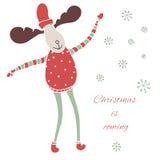 Τα Χριστούγεννα είναι ερχόμενη κάρτα διανυσματική απεικόνιση