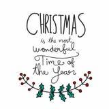 Τα Χριστούγεννα είναι ο πιό θαυμάσιος χρόνος της γράφοντας απεικόνισης λέξης έτους ελεύθερη απεικόνιση δικαιώματος