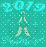Τα Χριστούγεννα, η νέα κάρτα έτους με την εικόνα του μοντέρνου δέντρου της διακόσμησης του Paisley και το χιόνι ξεφλουδίζουν ελεύθερη απεικόνιση δικαιώματος