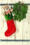 τα Χριστούγεννα διακοσμούν τις φρέσκες βασικές ιδέες διακοσμήσεων Η κόκκινη γυναικεία κάλτσα, Teddy αντέχει και πράσινο πεύκο TR στοκ φωτογραφία