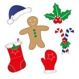 τα Χριστούγεννα διακοσμούν τις φρέσκες βασικές ιδέες διακοσμήσεων διανυσματική απεικόνιση