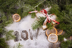 τα Χριστούγεννα διακοσμούν τις φρέσκες βασικές ιδέες διακοσμήσεων Τρύγος Στοκ εικόνες με δικαίωμα ελεύθερης χρήσης