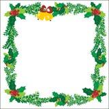 Τα Χριστούγεννα διακοσμούν το διανυσματικό πλαίσιο κουδουνιών πράσινο Στοκ Εικόνες