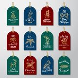 Τα Χριστούγεννα και νέος έτοιμος προς χρήση χρυσός έτους ακτινοβολούν ετικέττες δώρων ή πρότυπα ετικετών καθορισμένα Συρμένα χέρι απεικόνιση αποθεμάτων