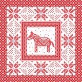 Τα Χριστούγεννα και ο εορταστικός χειμώνας τακτοποιούν το σχέδιο στο διαγώνιο ύφος βελονιών με το σουηδικό άλογο, snowflake, το α Στοκ Εικόνα