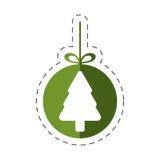 τα Χριστούγεννα πεύκων δέντρων κρεμούν τη γραμμή Στοκ Εικόνες