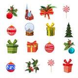 Τα Χριστούγεννα που τίθενται με το πεύκο διακλαδίζονται, διακοσμήσεις, καραμέλες, κορδέλλες, κιβώτια των δώρων, cnow σφαίρα, πεύκ απεικόνιση αποθεμάτων