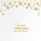 Τα Χριστούγεννα σπινθηρίσματος ακτινοβολούν διακοσμήσεις Χρυσά σύνορα γιορτής Εορταστική γιρλάντα με την ένωση των σφαιρών και τω Στοκ φωτογραφία με δικαίωμα ελεύθερης χρήσης