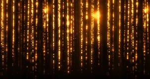 Τα Χριστούγεννα ψηφιακά ακτινοβολούν χρυσές λουρίδες μορίων σπινθήρων που ρέουν στο μαύρο υπόβαθρο, γεγονός Χριστουγέννων διακοπώ ελεύθερη απεικόνιση δικαιώματος