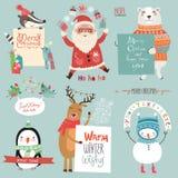 Τα Χριστούγεννα holidsys έθεσαν με τους χαριτωμένους χαρακτήρες Στοκ Φωτογραφίες