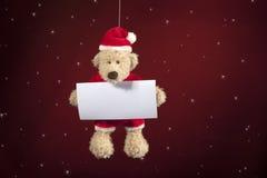 Τα Χριστούγεννα teddy αντέχουν με την κάρτα επιθυμιών Στοκ εικόνες με δικαίωμα ελεύθερης χρήσης