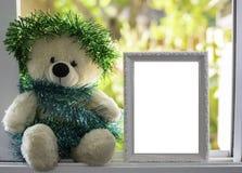 Τα Χριστούγεννα Teddy αντέχουν, τα νέα Χριστούγεννα Teddy έτους αντέχουν με το διάστημα αντιγράφων Στοκ Εικόνες