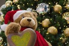Τα Χριστούγεννα Teddy αντέχουν τους εποχιακούς χαιρετισμούς Στοκ Εικόνες
