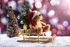 Τα Χριστούγεννα teddy αντέχουν Στοκ Φωτογραφία