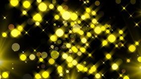 Τα χρυσά ακτινοβολώντας μόρια και ελαφρύς, εορταστικός τρισδιάστατος λάμψης δίνουν το υπόβαθρο, χρυσή έκρηξη του κομφετί ελεύθερη απεικόνιση δικαιώματος