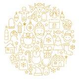 Τα χρυσά εικονίδια γραμμών διακοπών Χαρούμενα Χριστούγεννας καθορισμένα τη μορφή κύκλων ελεύθερη απεικόνιση δικαιώματος
