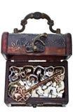 Κλειδί για όλες τις ερωτήσεις σε ένα στήθος θησαυρών στοκ φωτογραφία με δικαίωμα ελεύθερης χρήσης