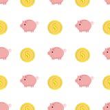 Τα χρυσά νομίσματα με το δολάριο υπογράφουν το άνευ ραφής σχέδιο Ρόδινο piggy άνευ ραφής σχέδιο τραπεζών Στοκ εικόνα με δικαίωμα ελεύθερης χρήσης