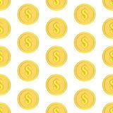 Τα χρυσά νομίσματα με το δολάριο υπογράφουν το άνευ ραφής σχέδιο Εικονίδια χρημάτων στο λευκό Στοκ εικόνες με δικαίωμα ελεύθερης χρήσης