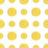 Τα χρυσά νομίσματα με το δολάριο υπογράφουν το άνευ ραφής σχέδιο Εικονίδια χρημάτων στο λευκό Στοκ Εικόνες