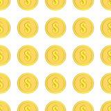 Τα χρυσά νομίσματα με το δολάριο υπογράφουν το άνευ ραφής σχέδιο Εικονίδια χρημάτων στο λευκό Στοκ φωτογραφία με δικαίωμα ελεύθερης χρήσης