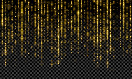 Τα χρυσά parkling tinsel μορίων νήματα, χρυσός ακτινοβολούν πτώσεις θαμπάδων Στοκ φωτογραφίες με δικαίωμα ελεύθερης χρήσης