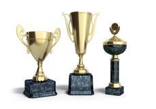 Τα χρυσά trophys κοιλαίνουν την τρισδιάστατη απεικόνιση στο λευκό Στοκ φωτογραφία με δικαίωμα ελεύθερης χρήσης