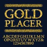 Τα χρυσοί κεφαλαία γράμματα και οι αριθμοί τα μικρά ακτινοβολώντας τεμάχια Εκλεκτής ποιότητας σγουρή πηγή Απομονωμένο αγγλικό αλφ απεικόνιση αποθεμάτων