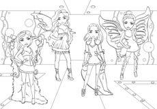 Τα χρωματίζοντας κορίτσια κάνουν τη επίδειξη μόδας στο διάδρομο απεικόνιση αποθεμάτων