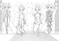 Τα χρωματίζοντας κορίτσια σε Glamor ντύνουν στη επίδειξη μόδας απεικόνιση αποθεμάτων