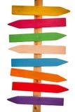 Τα χρωματισμένα βέλη δείχνουν τις κατευθύνσεις Στοκ Εικόνες