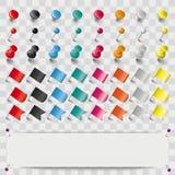 Τα χρωματισμένα καρφιά σημαιών καρφιτσών καθορισμένα τις σκιές εμβλημάτων διαφανείς διανυσματική απεικόνιση