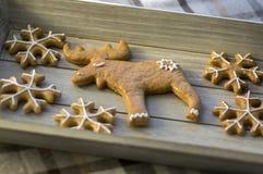 Τα χρωματισμένα παραδοσιακά μελοψώματα Χριστουγέννων τακτοποίησαν στον ξύλινο δίσκο στο φως της ημέρας, νόστιμα γλυκά για τις δια στοκ εικόνα με δικαίωμα ελεύθερης χρήσης