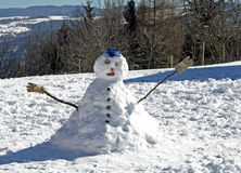 τα χτισμένα παιδιά παίζουν το χιονάνθρωπο στοκ εικόνα με δικαίωμα ελεύθερης χρήσης