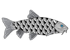 Τα ψάρια δίνουν τη συρμένη σκιαγραφημένη απεικόνιση Doodle γραφικό Στοκ Εικόνα