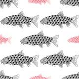Τα ψάρια δίνουν τη συρμένη σκιαγραφημένη απεικόνιση Doodle γραφικό Στοκ φωτογραφίες με δικαίωμα ελεύθερης χρήσης