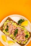 Τα ψάρια και το αβοκάντο τόνου με τα κρεμμύδια στη σίκαλη πασπαλίζουν το ανοικτό πρόσωπο Sandwic με ψίχουλα στοκ φωτογραφίες με δικαίωμα ελεύθερης χρήσης