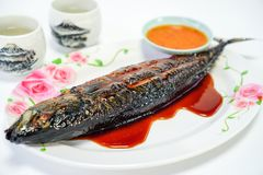 Τα ψάρια της Saba έψησαν το πιάτο στο άσπρο υπόβαθρο στη σχάρα στοκ εικόνες