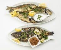 Τα ψημένα στη σχάρα ψάρια με τις φέτες λεμονιών, ψημένα θαλασσινά εξυπηρέτησαν στο πιάτο που απομονώθηκε στο λευκό Στοκ φωτογραφίες με δικαίωμα ελεύθερης χρήσης