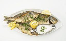 Τα ψημένα στη σχάρα ψάρια με τις φέτες λεμονιών, ψημένα θαλασσινά εξυπηρέτησαν στο πιάτο που απομονώθηκε στο λευκό Στοκ φωτογραφία με δικαίωμα ελεύθερης χρήσης