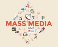 Τα ψηφιακά αντικείμενα Μέσων Μαζικής Επικοινωνίας χρωματίζουν το απλό επίπεδο Στοκ φωτογραφίες με δικαίωμα ελεύθερης χρήσης