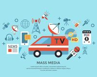 Τα ψηφιακά αντικείμενα Μέσων Μαζικής Επικοινωνίας χρωματίζουν το απλό επίπεδο Στοκ Φωτογραφία