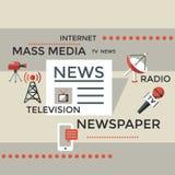 Τα ψηφιακά αντικείμενα Μέσων Μαζικής Επικοινωνίας χρωματίζουν το απλό επίπεδο Στοκ Φωτογραφίες