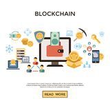 Τα ψηφιακά διανυσματικά εικονίδια γραμμών καθορισμένα blockchain το πακέτο Στοκ Φωτογραφία