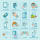 Τα ψηφιακά εικονίδια υγείας καθορισμένα την επίπεδη γραμμή διανυσματική απεικόνιση