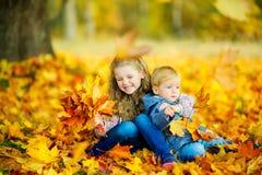 Τα όμορφα παιδιά παίζουν με πεσμένα τα φθινόπωρο φύλλα υπαίθρια Στοκ εικόνα με δικαίωμα ελεύθερης χρήσης