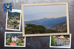 Τα όμορφα στιγμιότυπα των διάφορων τοπίων της Κύπρου, χωριά, μοναστήρι στα ξύλινα πλαίσια τακτοποίησαν στο αγροτικό υπόβαθρο στοκ φωτογραφίες με δικαίωμα ελεύθερης χρήσης